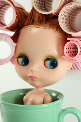 Progress! (Squirrel Junkie) Tags: cup vintage progress redhead kenner blythe 1972 72 fiestaware kb finally curlers sidepart squirreljunkie jenniferabe