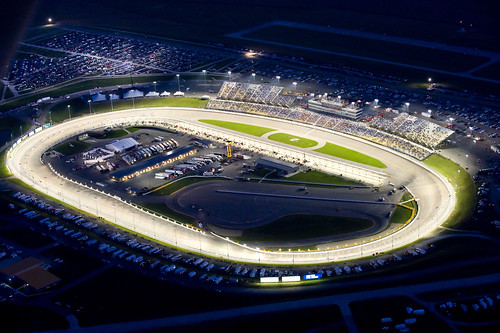 At night, under the lights at Iowa Speedway