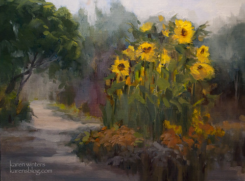 Descanso Gardens Sunflower Garden - Plein Air Oil Painting by Karen Winters by kwint