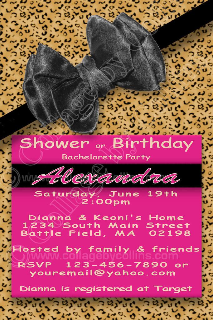 Leopard, custom, personalized, baby, bridal, shower, invitation, bachelorette party, bachelorette, party, white, bow, polka dot, black, zebra, animal print. birthday, party, hot pink, pink, fuchsia, f