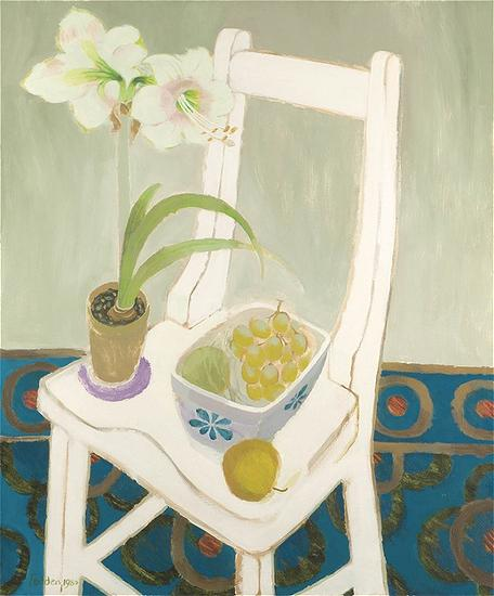 Mary Fedden, Still life with amaryllis and fruit on a chair