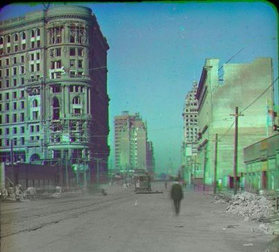 Color photo San Francisco earthquake