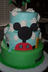 "Mickey Mouse clubhouse side of Dual birthday cake • <a style=""font-size:0.8em;"" href=""http://www.flickr.com/photos/60584691@N02/5525363428/"" target=""_blank"">View on Flickr</a>"