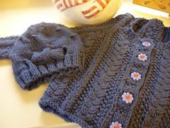 Sweater and Cap (bindakay) Tags: blue baby twist cables bow easy beanie cardigan cardi beany perfectly tuckernuck karabella aurora8 daisybuttons easie