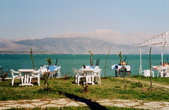 Egirdir Lake, Turkey (east med wanderer) Tags: turkey egirdir yesilada egirdirlake tables lakeside restaurant turkiye turkei turchia worldtrekker