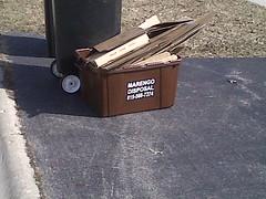 Marengo Disposal recycling bin (PublicServiceEquipmentFan) Tags: brown box disposal bin cardboard recycle marengo receptacle
