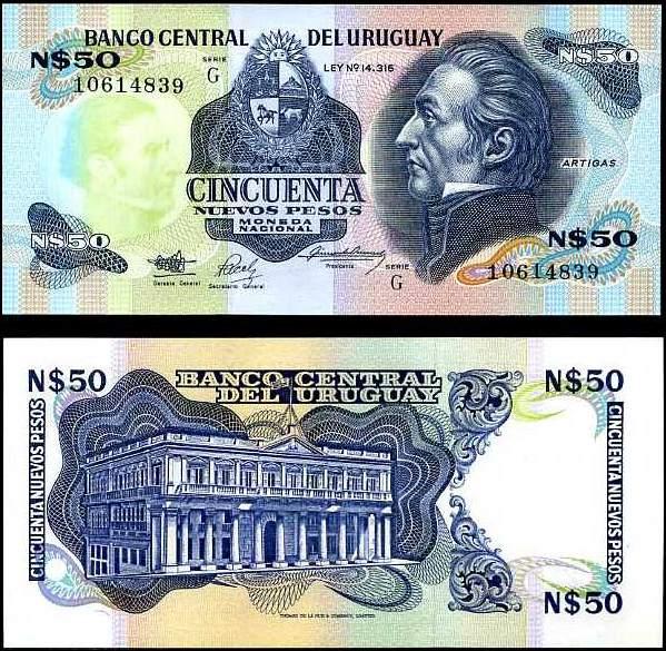 50 Nuevos Pesos Uruguay 1988-89, P61A