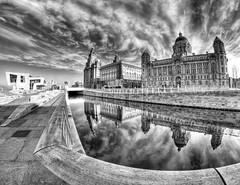 Pier Head,Liverpool (Hazeldon73- catching up !) Tags: white black building heritage architecture contrast liverpool buildings reflections mono canal waterfront fisheye liver hdr pierhead merseyside portofliverpool mygearandme ringexcellence