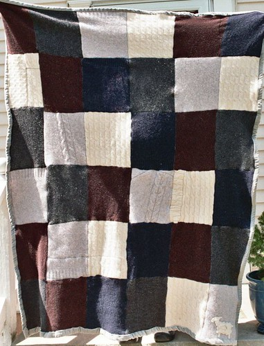 recycled sweater quilt, recycled wool quilt