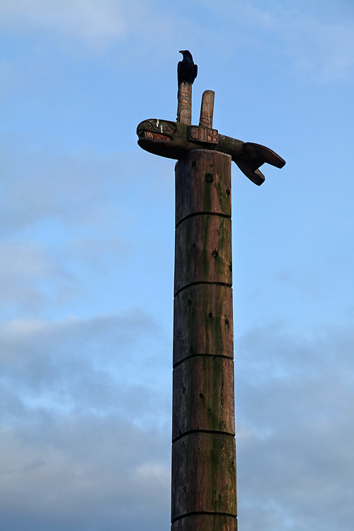 raven on totem pole, Hydaburg, Alaska