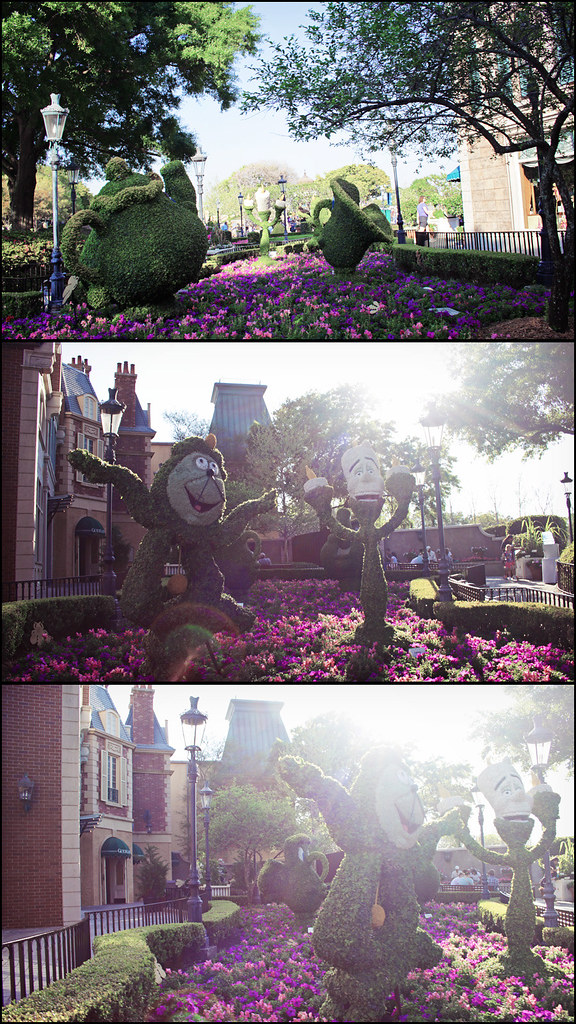 Epcot World Showcase triptych topiary