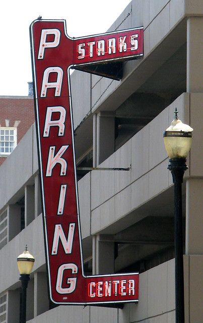 Starks Parking Center neon sign