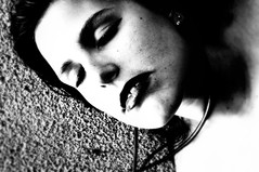 In My Room (David Reisinger Photography) Tags: shadow blackandwhite blur girl face wall contrast neck carpet room teeth lips strangle lipstick eyesclosed hang