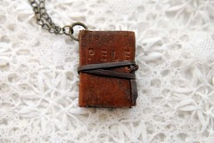 Pele - A Book Necklace (Bibliographica) Tags: old vintage miniature necklace treasure handmade diary journal worn heirloom etsy wearable bookbinding pendant whimsical trinket bibliophile leathr teastained bookbindingteam folkreveries bibliographica