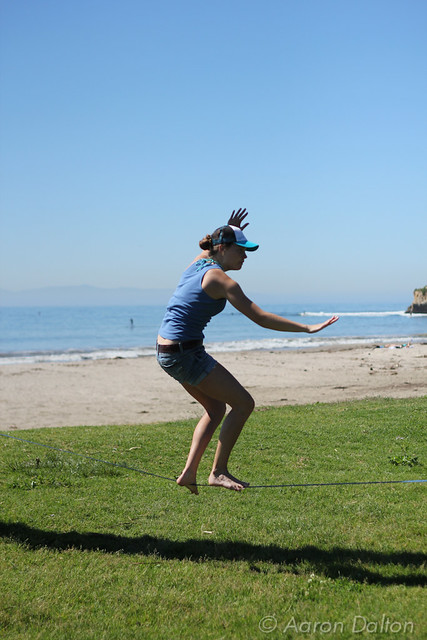 Slackline with Beach Background