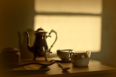 Curtain Shade (floralgal) Tags: stilllife lightandshadows dusk coffeecup naturallight windowlight coffeepot cupandsaucer woodenspoons woodentray earlyeveninglight tabletopstilllife classicstilllife naturallightstilllife
