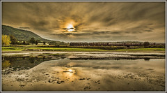 Damn, all it needed was a smoke trail! (david.hayes77) Tags: britannia pacific steam stokesay reflection shropshire 2014 thecathedralsexpress kettle 70013 olivercromwell sunset landscape