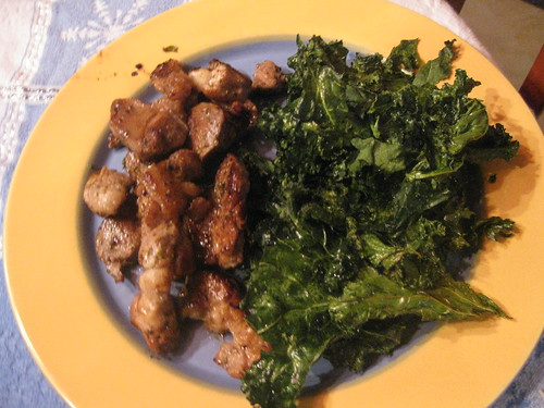 Kale chips and pork