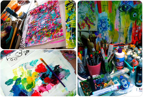 paint pallette, my FAVE tools, painted papers