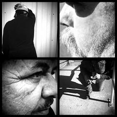 Issues - Day 28/365 (Daftpusher) Tags: old blackandwhite bw men industrial texas sad praying profile mustache kneeling wrinkles scruffy iphone standoff diptic helgaviking iphone365 hipstamatic blackeyssupergrain