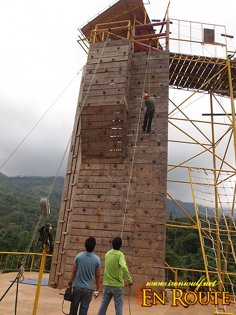 Wall climb at Zipline 2 end