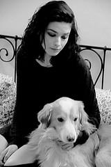 Daniela & Clash (Fabrizio Tavaroli) Tags: light portrait bw woman dog sexy beautiful animal hair lips piercing bn sensual brunette canon500d