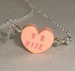 UR MINE (LoveYourBling) Tags: heart handmade etsy beaded valentinesday swarovskicrystal conversationhearts crystalheart handwoven handmadejewelry loveyourbling