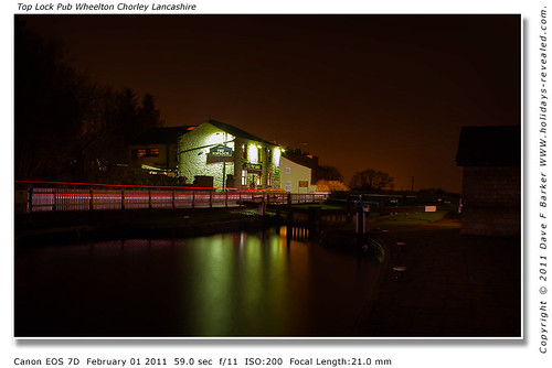 Top Lock Pub Night Reflections  With Car Light Trails Wheelton Chorley Lancashire