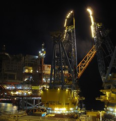 New flare stack at Valhall (thulobaba) Tags: industry night canon construction crane offshore gas northsea installation oil s7000 bp barge saipem g10 valhall sscv