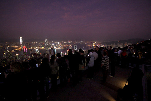Snap happy tourists atop the Peak Tower at Dusk