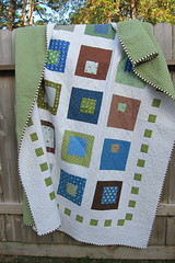 Rear Window (a maiden hair fern) Tags: blue brown white green modern quilt handmade quilting quilts patchwork 2010 squareinasquare modernquilt heatherross lightningbugsandothermysteries konawhite