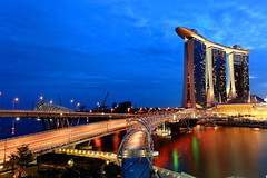 Singapore Newest Icon- Marina Bay Sands (Mel Mijares) Tags: night river yahoo google flyer exposure wide casino helix bluehour sands fullerton merlion chingayparade hongbao uwa espanade buld enteratinment marinabaysands 5dmkiicanon thedoublehelixbridge chingay2011 singaporenewesticon