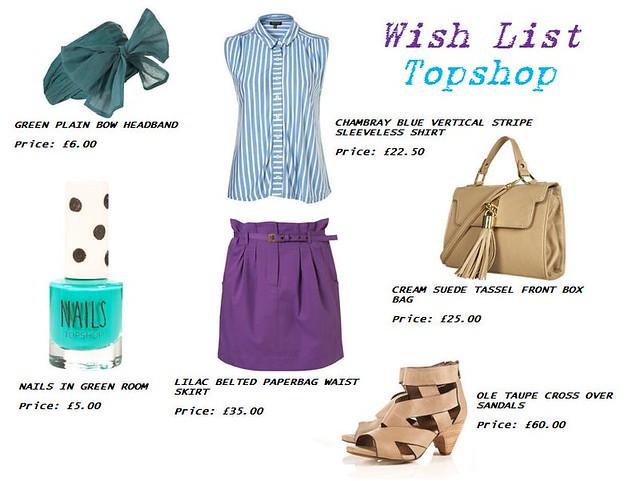 topshop wish list