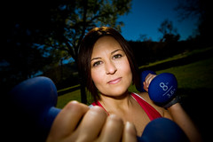 (highervision) Tags: california woman color smile canon losangeles exercise outdoor vibrant wideangle health 5d burbank fitness trainer weights offcameraflash strobist johnnycarsonpark