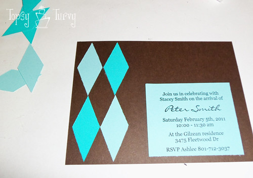 argyle baby shower invitation