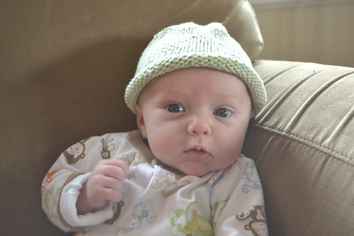 Showing off hat at 6 weeks