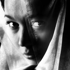 Secrets (EB-FotoArt.nl) Tags: portrait blackandwhite monochrome square veiled veil secrets absoluteblackandwhite absolutegoldenmasterpiece bestportraitsaoi elitegalleryaoi
