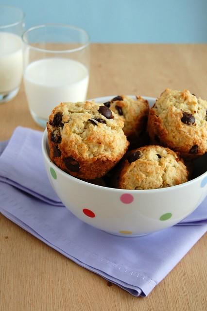 Banana, chocolate and coconut muffins / Muffins de banana, coco e chocolate