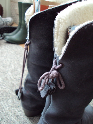 Grey Suede and Shearling Boots (back)