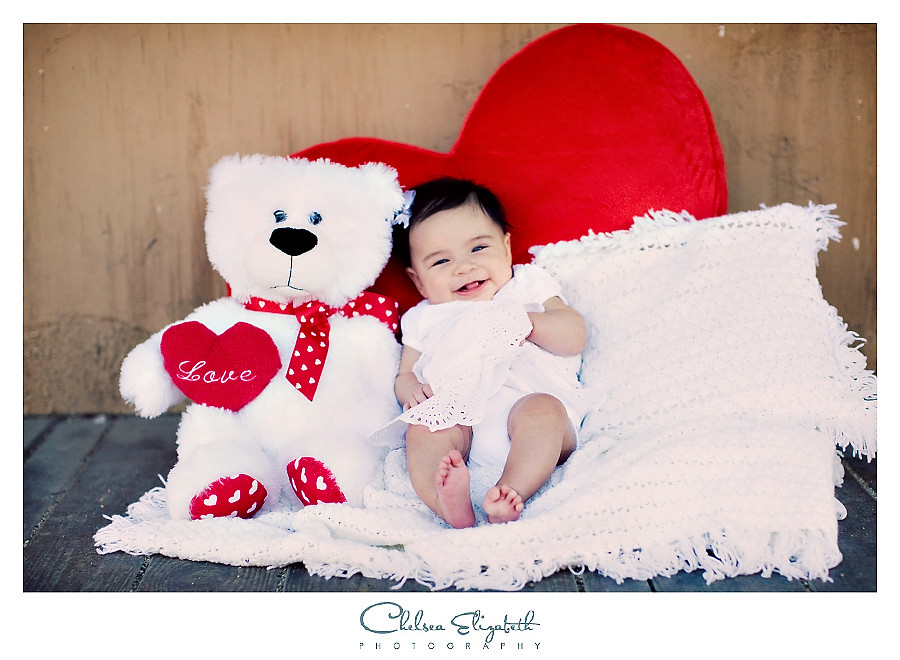 Valentine's day love teddy bear baby photograph