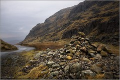 CAIRNS AT THE TOP OF HARDKNOTT PASS, LAKE DISTRICT. (IMAGES OF WALES.... (TIMWOOD)) Tags: mountains rain clouds rocks stones sony lakedistrict pebbles hills cumbria cairns alpha cairn eskdale langdales wrynosepass hardknottpass a700 mygearandme timwoodgallery