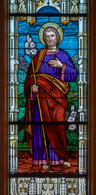 Saint Joseph Roman Catholic Church, in Louisiana, Missouri, USA - stained glass window detail of Saint Joseph