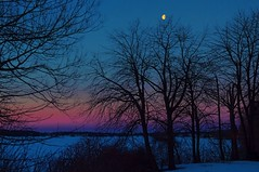Moon over St. Lawrence River (beyondhue) Tags: blue trees sky moon ontario canada st night river lawrence cornwall purple silhouettes seaway beyondhue