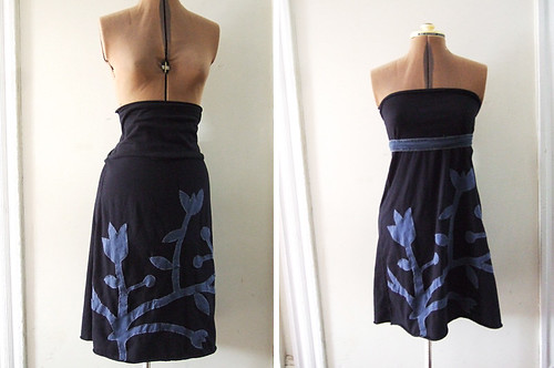 Black T-Skirt or Dress with Blue Flower Applique