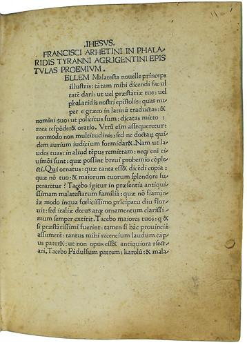 Title incipit of Phalaris [pseudo-]: Epistolae [Latin]