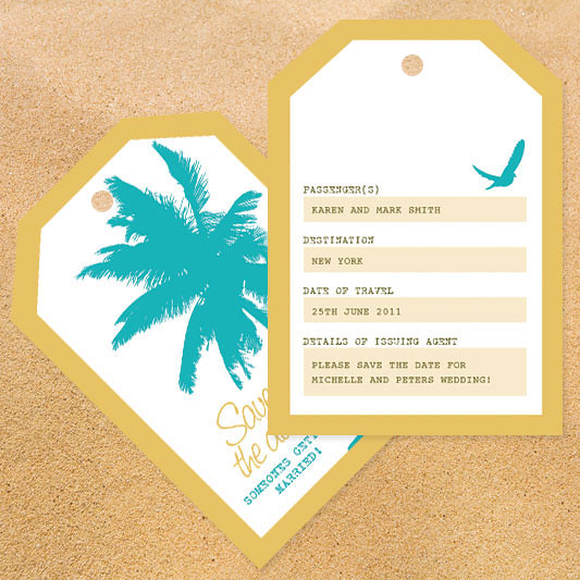 beach party luggage tag save the date