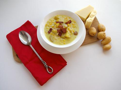 Cheddar Corn Chowder - red napkin