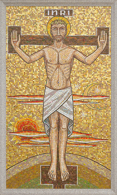 Resurrection Cemetery, in Affton, Missouri, USA - mosaic of the Crucifixion of Our Lord