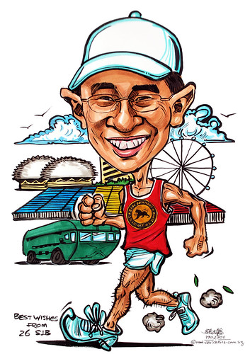 running caricature for Singapore Armed Force