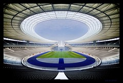 Olympic stadium (sediama (break)) Tags: light sun berlin sports 1936 germany licht pentax perspective sigma wideangle seats architektur mirrored sonne olympicstadium achitecture olympiastadion 10mm sitze twosuns summerolympics nofisheye wernermarch k20d sediama ottomarch b111igp2244